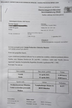 POZIV ZA SUD U MINHENU Spasić je dva puta svedočio u procesu koji je vodi zbog ubistva Đurekovića